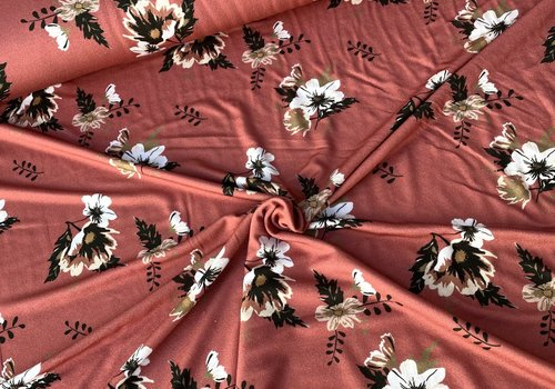 De Stoffenkamer Viscose Tricot Marsala Flowers