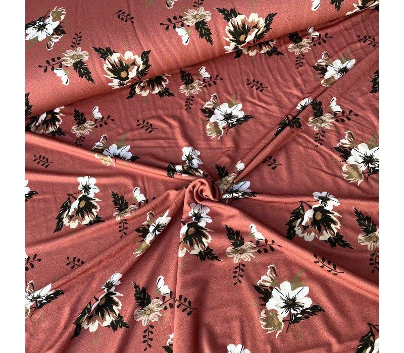 Viscose Tricot Marsala Flowers
