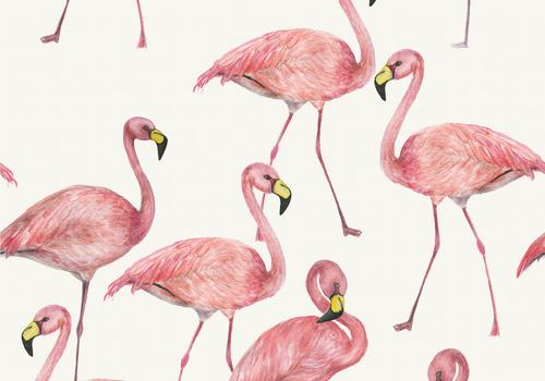 De Stoffenkamer Tricot Digital Flamingo