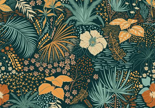 De Stoffenkamer Tricot Green Tropic Flowers