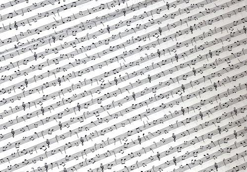 De Stoffenkamer Cotton - Music Notes Black & White