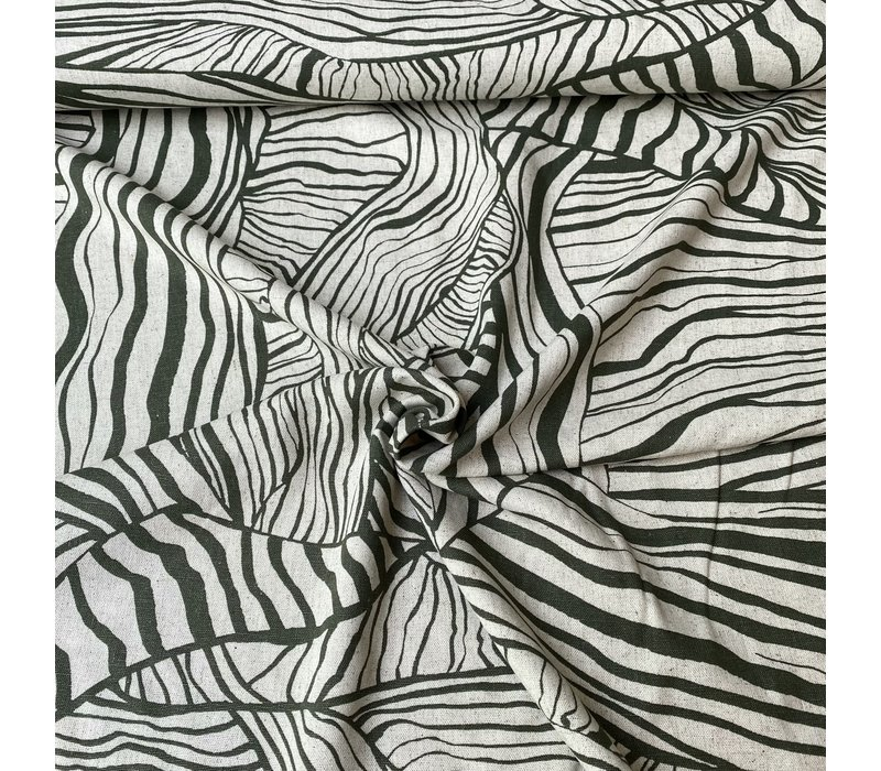 Linen Mix Olive Abstract Leafs