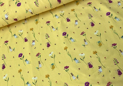 De Stoffenkamer Tricot Soft Yellow Flying flowers