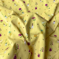 Tricot Soft Yellow Flying flowers