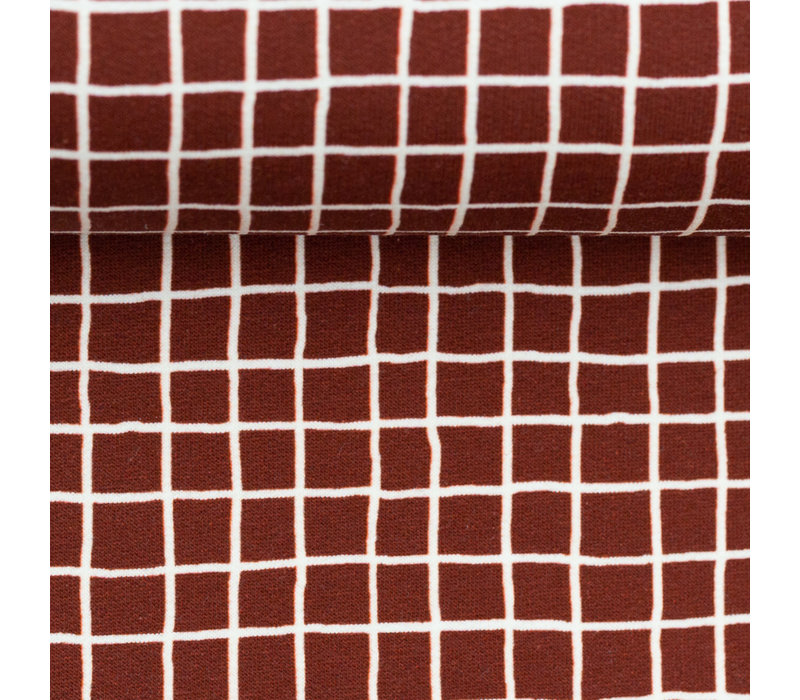 French Terry Mini Grid - Rust
