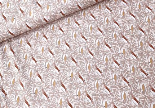 RJR Fabrics Cotton Pondlife - Old pink Storcks