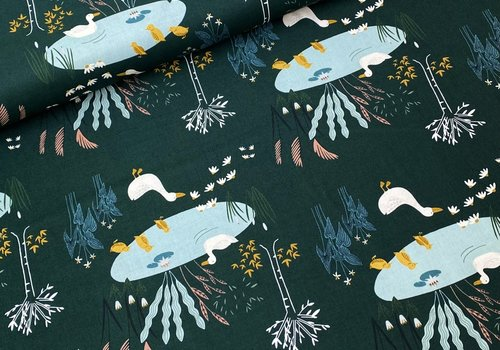 RJR Fabrics Cotton Pondlife - Darkgeen Ducks