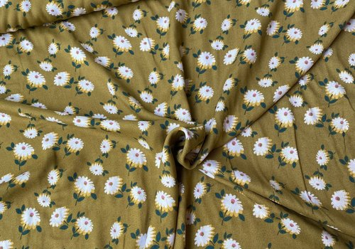 Editex Blouse Viscose Crepe Retro Flower Moss