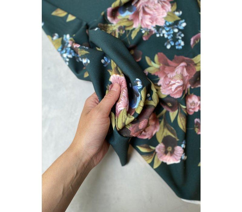 Blouse Dark Green Flowers