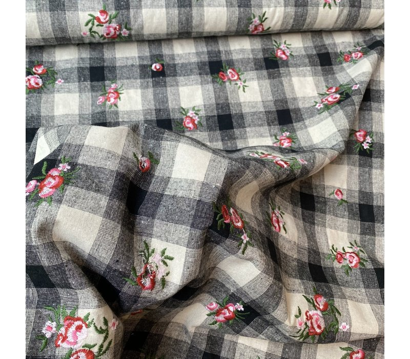 Cotton Checks with Embroidery  Flowers