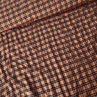 Fine Seersucker Cotton - checks Rustybrown