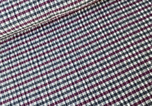 De Stoffenkamer Seersucker Cotton - checks burgundy