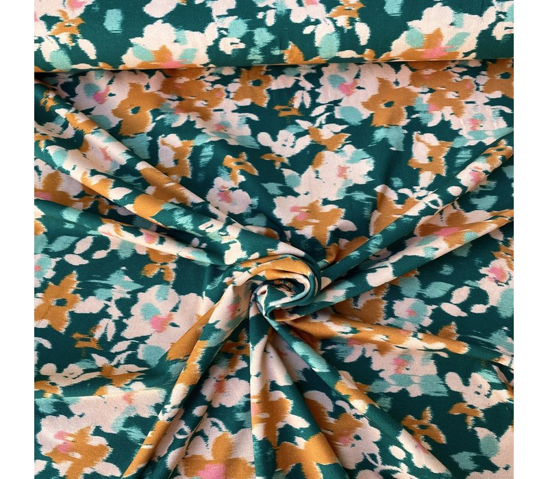 Tricot Faded Flowers intense green