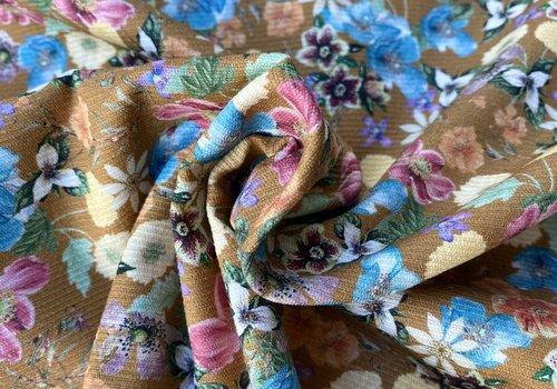 Fibre Mood Stretch Cotton Structure - oker flowers