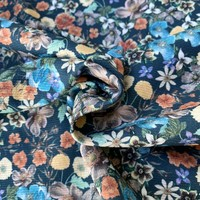 Stretch Cotton Structure - petrolblue flowers