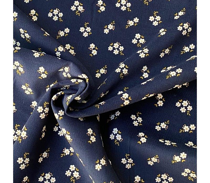 Babyrib velvet dark blue mini daisies