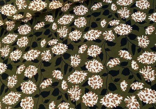 De Stoffenkamer Crepe Viscose Flowerprint - khaki/caramel