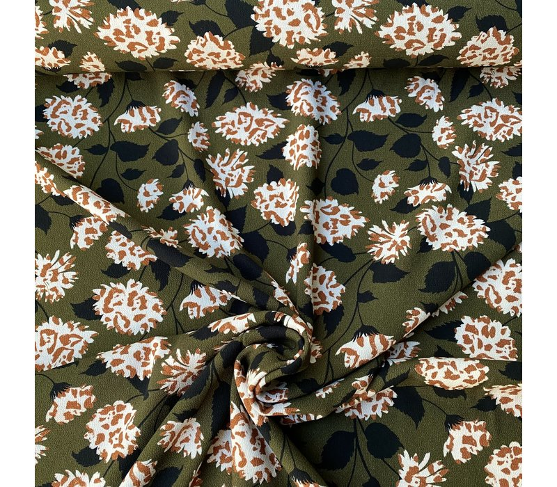 Crepe Viscose Flowerprint - khaki/caramel