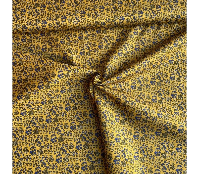 Fine  Cotton Little flowers Mustard Indigo