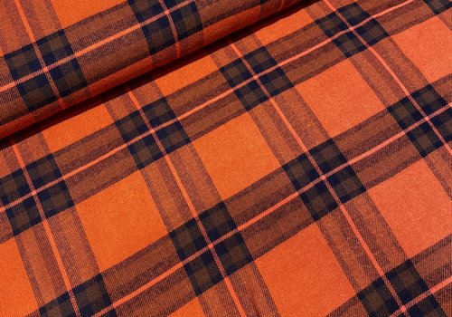 De Stoffenkamer Tartan Checks Flanel - orange / blue