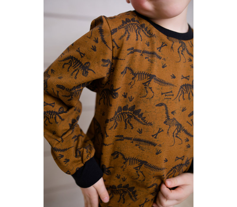 Sweatertricot Mustard Brown Dino Bones
