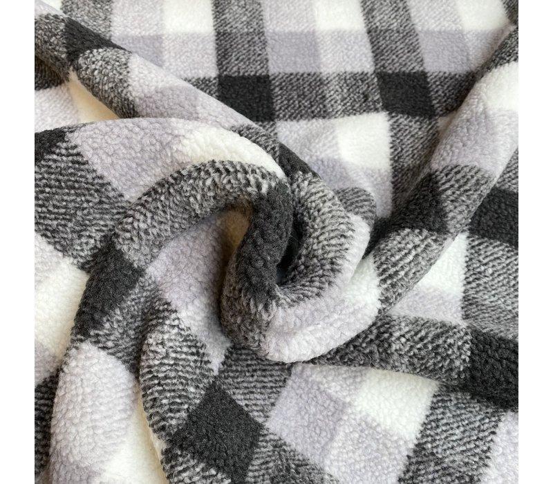 Fleece Sheep teddy Borg Checks Grey