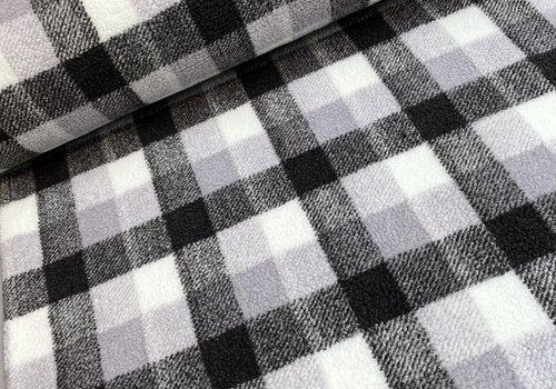 De Stoffenkamer Fleece Sheep teddy Borg Checks Grey