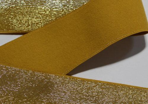 De Stoffenkamer Taille Elastiek 40mm Glitter Oker