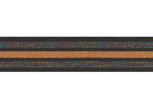 De Stoffenkamer Taille Elastiek 40mm Black Multi Orange