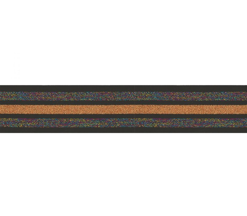 Taille Elastiek 40mm Black Multi Orange