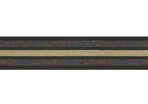 De Stoffenkamer Taille Elastiek 40mm Black Multi Gold