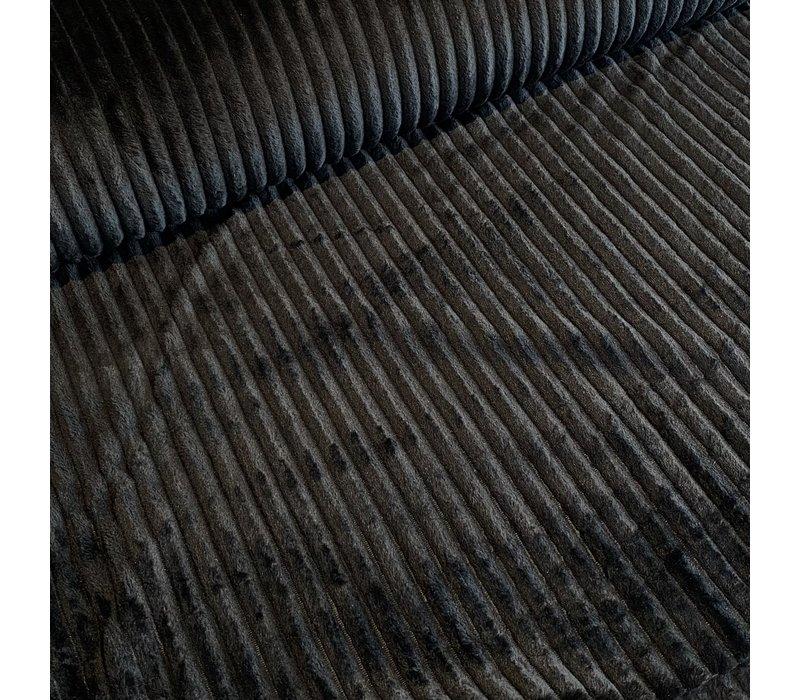 Faux-Fur Big stripes Black