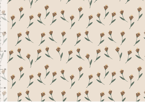 Elvelyckan Bio Bamboo French Terry - Off White Flowers