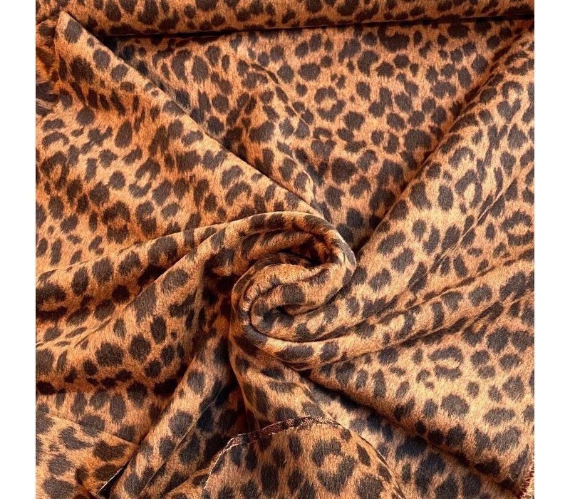 Geweven jacquard wolmix Leopard rust