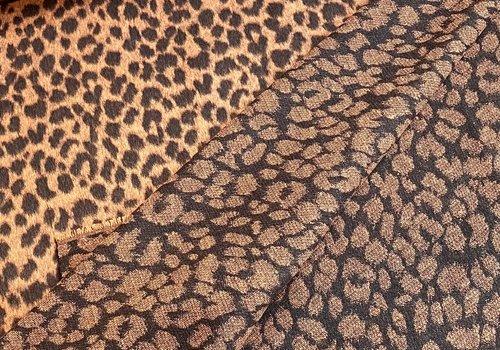 De Stoffenkamer Geweven jacquard wolmix Leopard rust