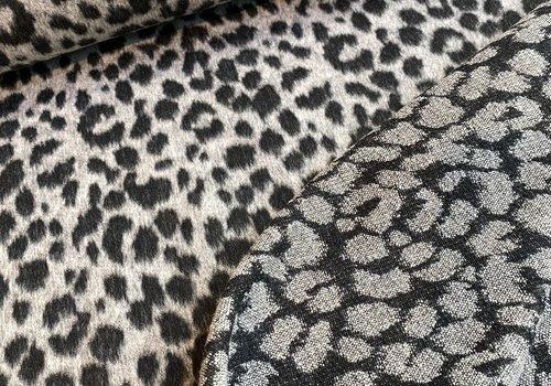 De Stoffenkamer Geweven jacquard wolmix Leopard grey