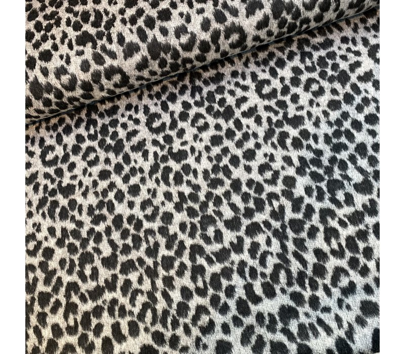 Geweven jacquard wolmix Leopard grey