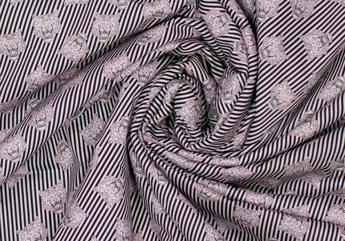 Fibre Mood Stretch Cotton Tiger Heads - Odile
