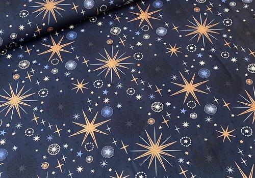 De Stoffenkamer Katoen Kerst Metallic - navy big stars