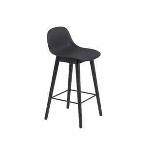 Fiber Bar Stool wood base with backrest