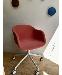 Fiber armchair swivel with castors & gaslift steelcut trio 526 showroommodel
