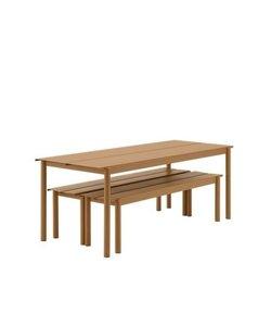 Linear Steel tuinset burnt orange showroommodel (tafel & 2 banken)