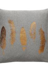 Hübsch Kussen veren print, donker grijs/coper 50x50 cm