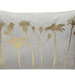 Hübsch Kussen bloemen print, licht grijs/goud 40x60 cm