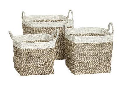 Hübsch Basket White Edge, Square, Seagrass 50x50xH44 cm
