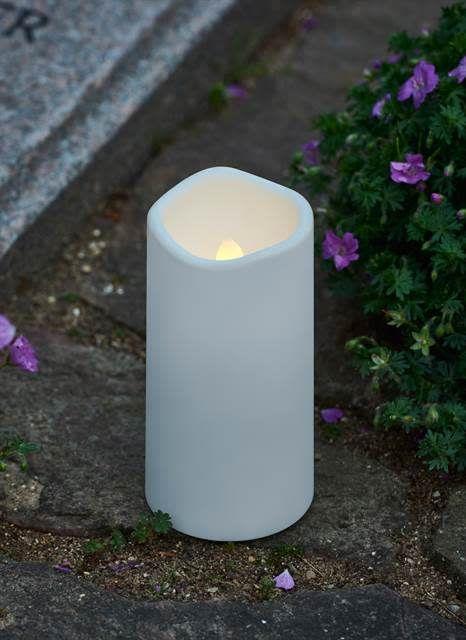 Beste Sirius Kaars cremetery H12,5 cm met timer_wit voor buiten en YX-12
