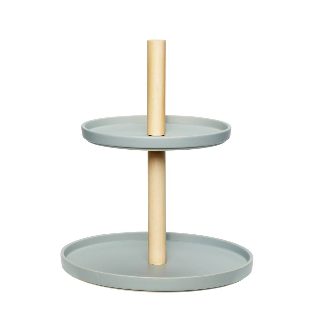 Hübsch étagère met 2 borden keramiek/hout