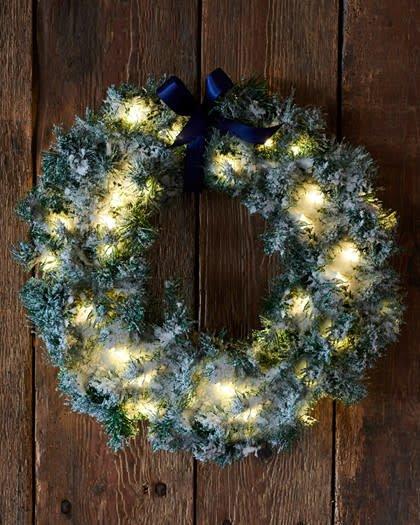 Sirius Kerstmis krans, groen/sneeuw, diameter 45 cm voor binnen en buiten_nieuwe collectie (batterij 3xAA)
