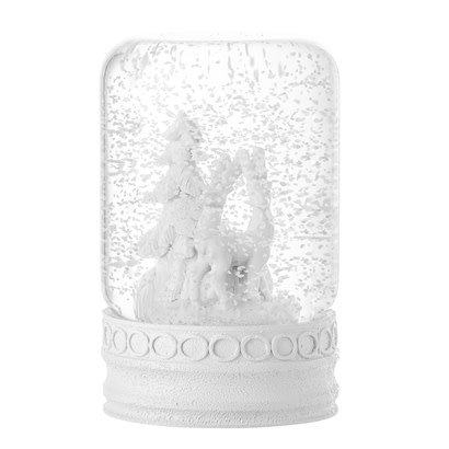 Bloomingville Snow globe, wit met stenen voet ø7xH12 cm