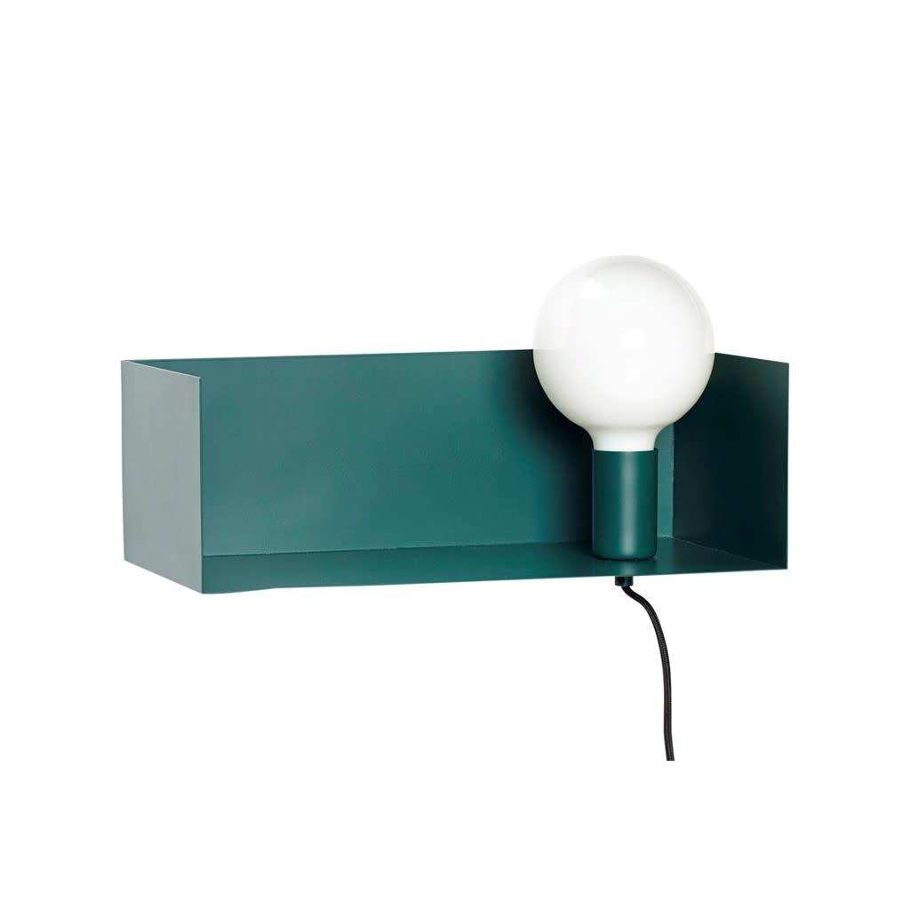 Hübsch Bankje met lamp _ metaal _ groen
